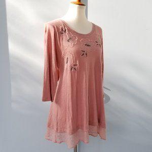 LOGO by Lori Goldstein Pink Cotton Tunic Lace S